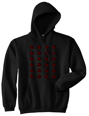 Red Rose Pattern Pullover Hoodie in Black