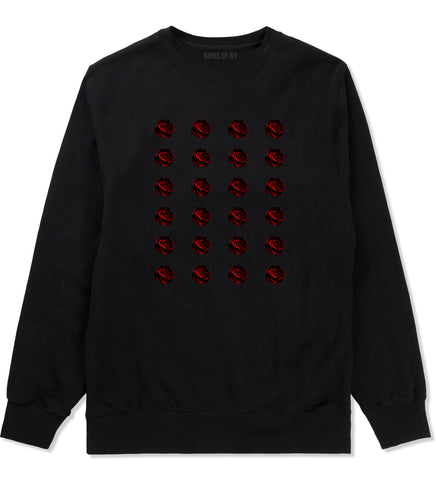 Red Rose Pattern Crewneck Sweatshirt in Black