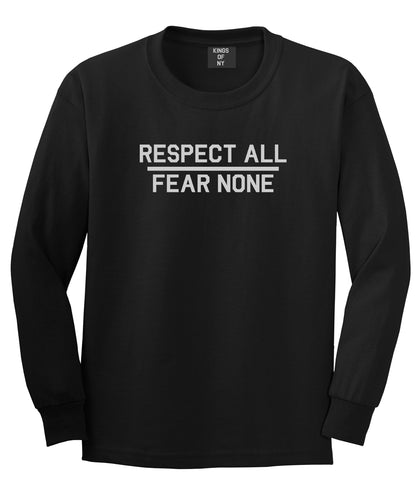 6304018f Respect All Fear None Mens Long Sleeve T-Shirt Black by Kings Of NY