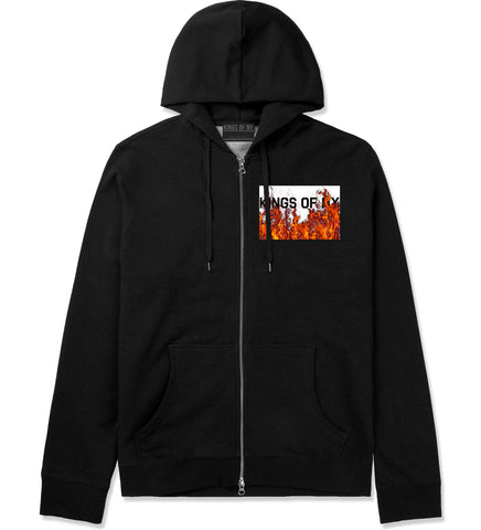 Rising From The Flames Zip Up Hoodie in Black