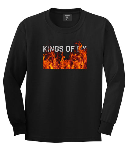 Rising From The Flames Long Sleeve T-Shirt in Black