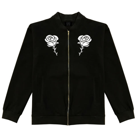 Rose Flower Bomber Jacket Black