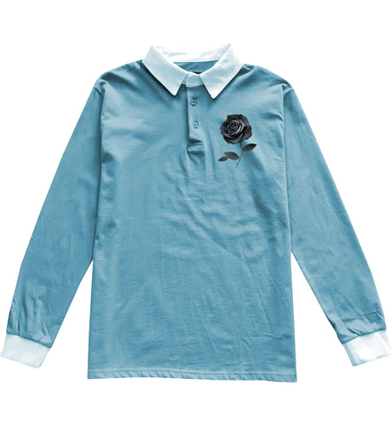 Rose Rugby Shirt in Blue