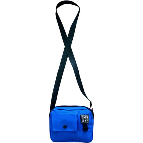 Royal Blue Front Pocket Mens Canvas Crossbody Sling Bag