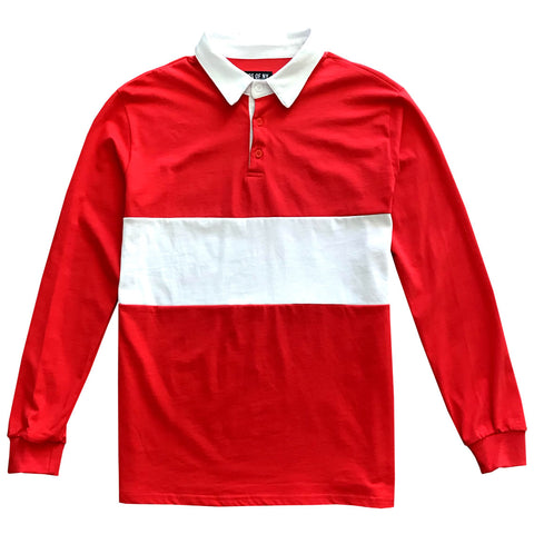 Mens Red and White Striped Long Sleeve Polo Rugby Shirt