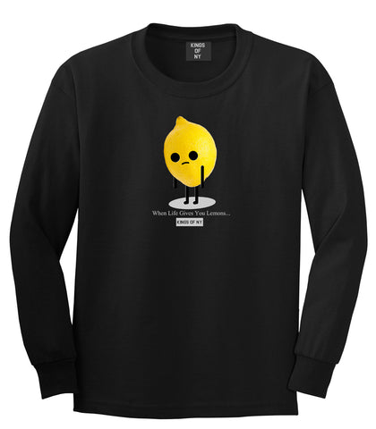 Sad Lemon Long Sleeve T-Shirt in Black