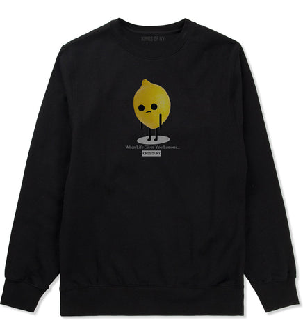 Sad Lemon Crewneck Sweatshirt in Black