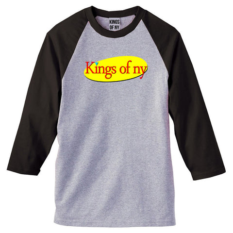 Seinfeld Logo 3/4 Sleeve Raglan T-Shirt in Grey