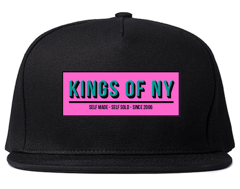Self Made Self Sold Pink Snapback Hat Cap in Black