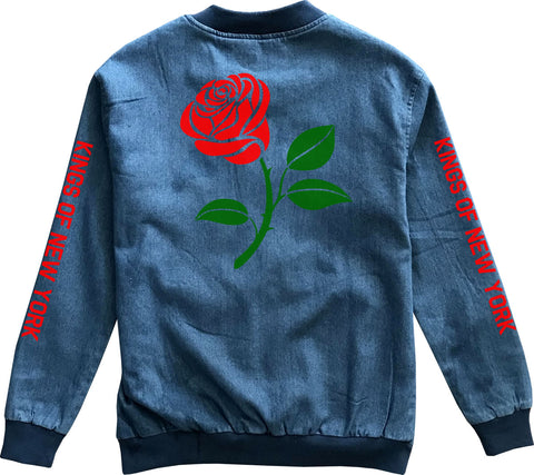 Single Red Rose Denim Bomber Jacket