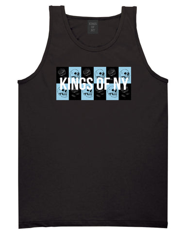 Skull And Rose Box Logo Mens Tank Top Shirt Black by Kings Of NY
