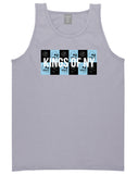 Skull And Rose Box Logo Mens Tank Top Shirt Grey by Kings Of NY