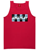 Skull And Rose Box Logo Mens Tank Top Shirt Red by Kings Of NY