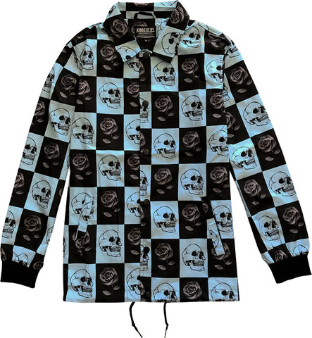 Black Rose and Skull Checkered Mens Nylon Windbreaker Coaches Jacket
