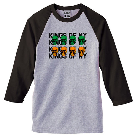 Skull Colors 3/4 Sleeve Raglan T-Shirt in Grey