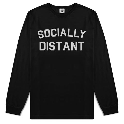Socially Distant Mens Long Sleeve T-Shirt Black