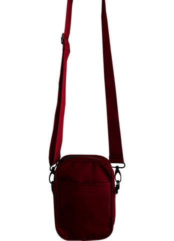 Solid Burgundy Mens Small Crossbody Sling Bag