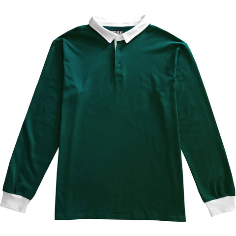 Solid Green with White Collar Mens Long Sleeve Polo Rugby Shirt