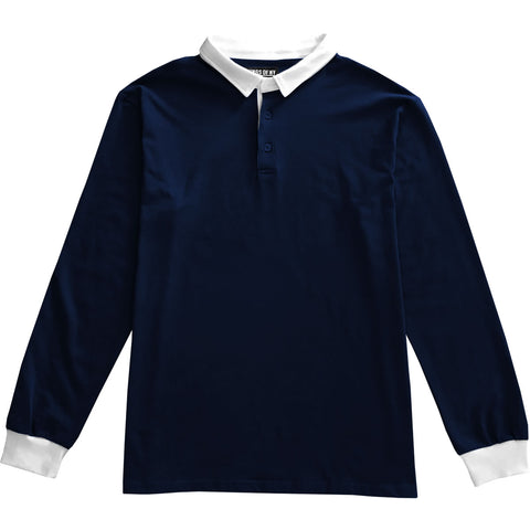 Solid Navy Blue with White Collar Mens Long Sleeve Polo Rugby Shirt