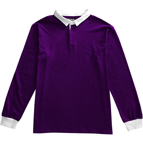 Solid Purple with White Collar Mens Long Sleeve Polo Rugby Shirt