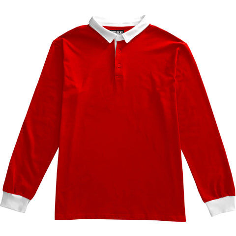 Solid Red with White Collar Mens Long Sleeve Polo Rugby Shirt