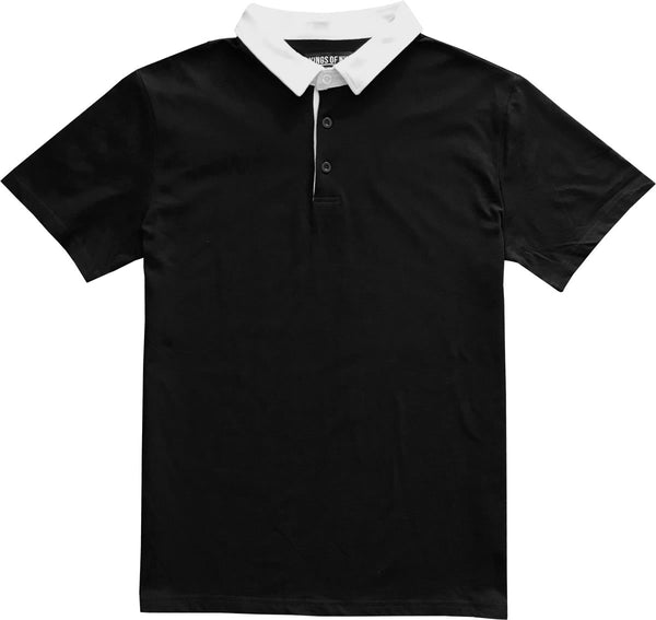 83124d18919 Solid Black with White Collar Mens Short Sleeve Polo Rugby Shirt – KINGS OF  NY