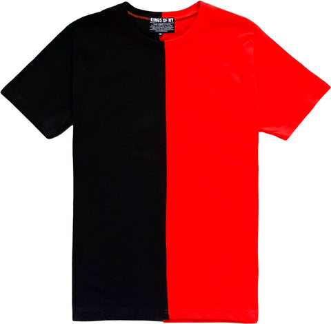 Black And Red Split Mens Short Sleeve T-Shirt