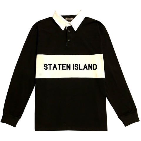 Staten Island New York Striped Mens Long Sleeve Rugby Shirt Black