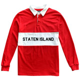 Staten Island New York Striped Mens Long Sleeve Rugby Shirt Red