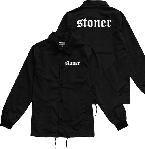 Stoner Old English Mens Coaches Jacket Black by Kings Of NY