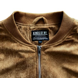 Brown Faux Suede Mens Bomber Jacket