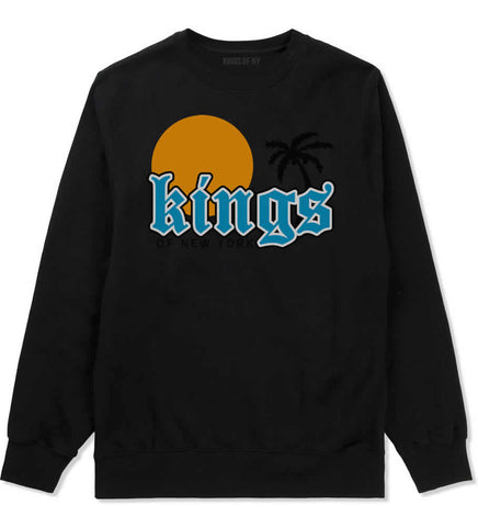 Sunsets And Palm Trees Mens Crewneck Sweatshirt Black