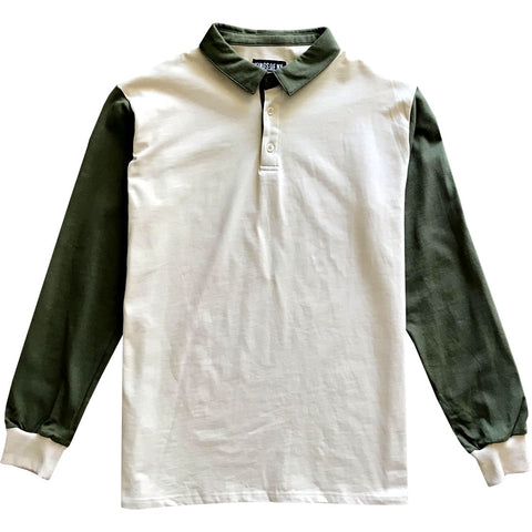 Tan and Olive Green Colorblock Mens Long Sleeve Polo Rugby Shirt Front