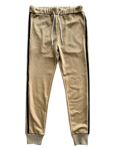 Tan with Black Stripes Skinny Fit Jogger Sweatpants