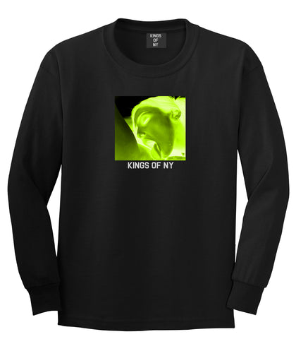 Taste Neon Green Yellow Mens Long Sleeve T-Shirt Black by Kings Of NY