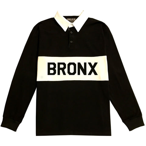 The Bronx New York Striped Mens Long Sleeve Rugby Shirt Black