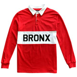 The Bronx New York Striped Mens Long Sleeve Rugby Shirt Red
