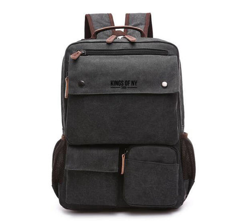3 Pocket Mens Canvas Military Style Black Travel Backpack