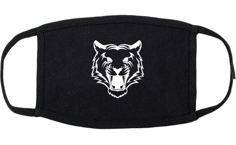 Tiger Face Outline Cotton Face Mask Black