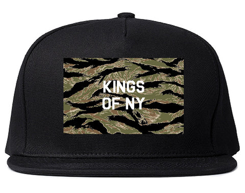 Tiger Stripe Camo Army Snapback Hat Cap in Black