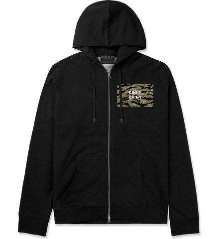 Tiger Stripe Camo Army Zip Up Hoodie in Black