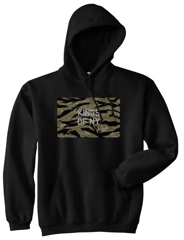 Tiger Stripe Camo Army Pullover Hoodie in Black