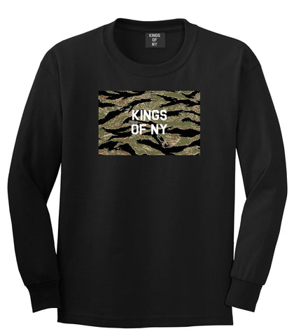 Tiger Stripe Camo Army Long Sleeve T-Shirt in Black