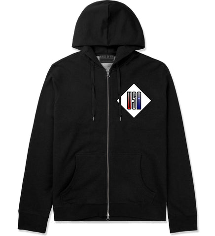 USA Diamond Logo Zip Up Hoodie in Black