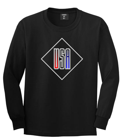 USA Diamond Logo Long Sleeve T-Shirt in Black