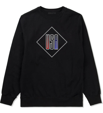 USA Diamond Logo Crewneck Sweatshirt in Black