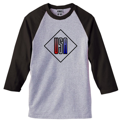 USA Diamond Logo 3/4 Sleeve Raglan T-Shirt in Grey