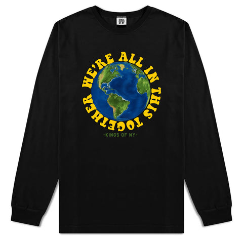 We're All In This Together Earth Mens Long Sleeve T-Shirt Black