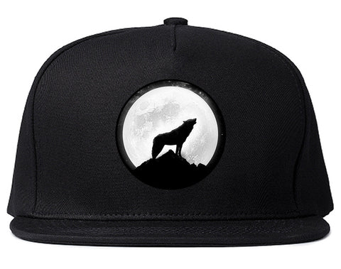 Wolf Howling Moon Snapback Hat