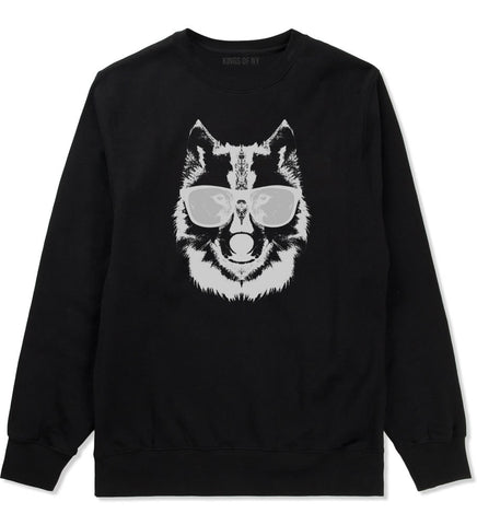 Wolf With Glasses Funny Crewneck Sweatshirt